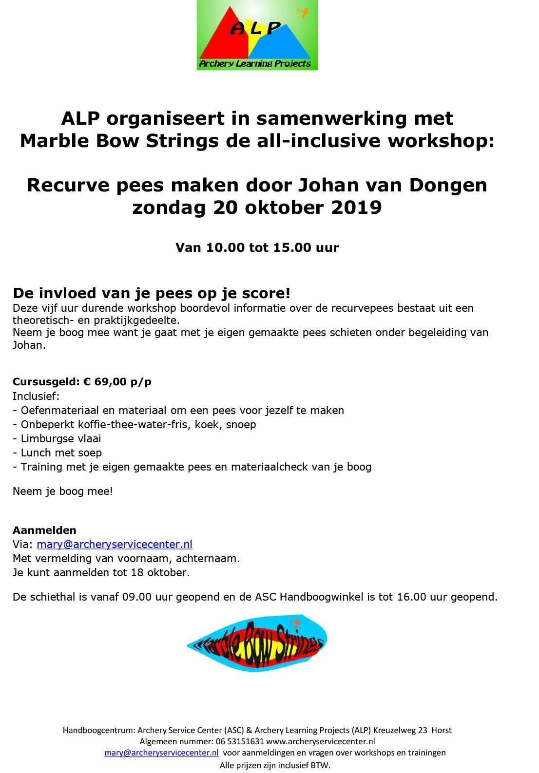 Handboog Workshop Recurve pees maken 20 okt 2019