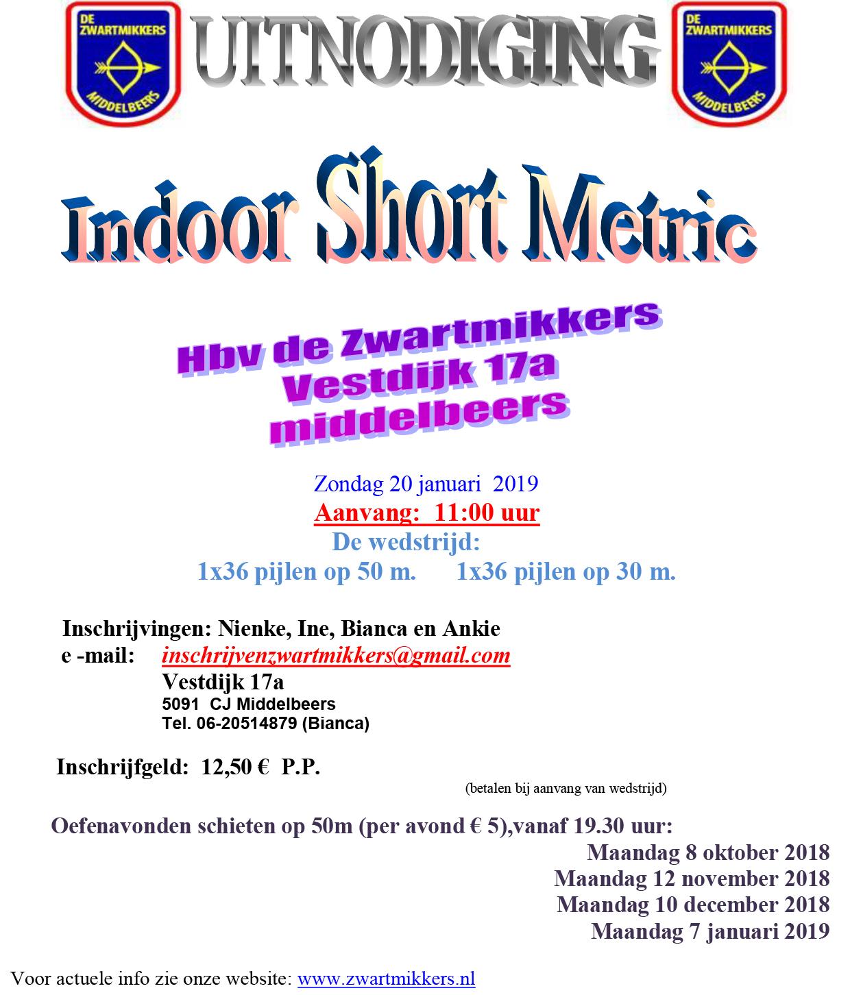 Indoor Short Metric HBV de Zwartmikkers @ HBV de Zwartmikkers