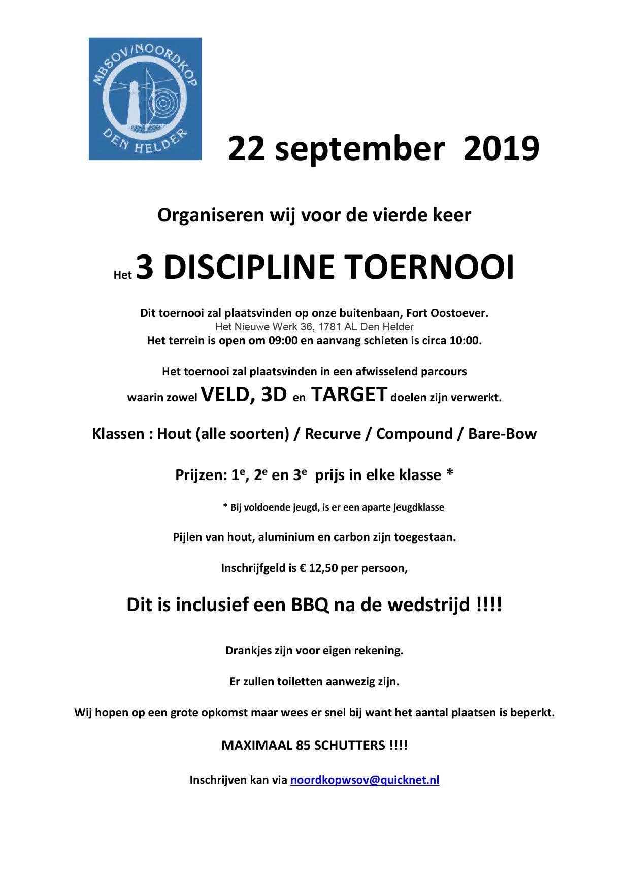 Het 3 Discipline Toernooi MBSOV Noordkop @ Buitenbaan, Fort Oostoever