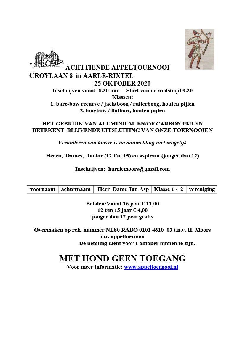 aankondiging achttiende appeltoernooi